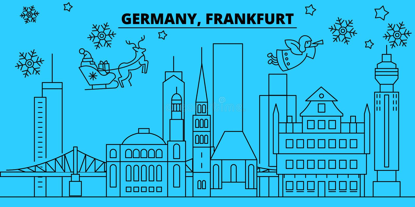 Germany, Frankfurt winter holidays skyline. Merry Christmas, Happy New Year decorated banner with Santa Claus.Germany. Germany, Frankfurt winter holidays skyline royalty free illustration