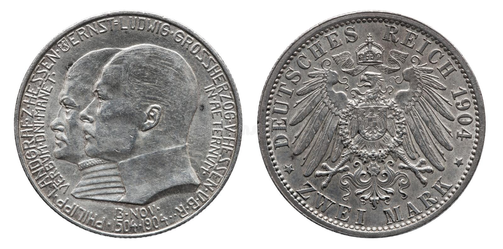 Germany German Hesse silver coin 2 two mark 1904. Front Ernst Ludwig, reverse eagle stock images