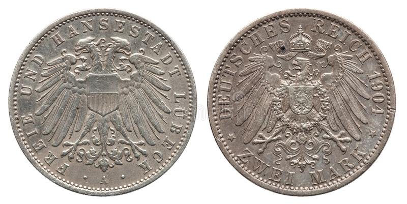 Germany German Lubeck silver coin 2 two mark 1904. Front double headed eagle, reverse eagle royalty free stock image