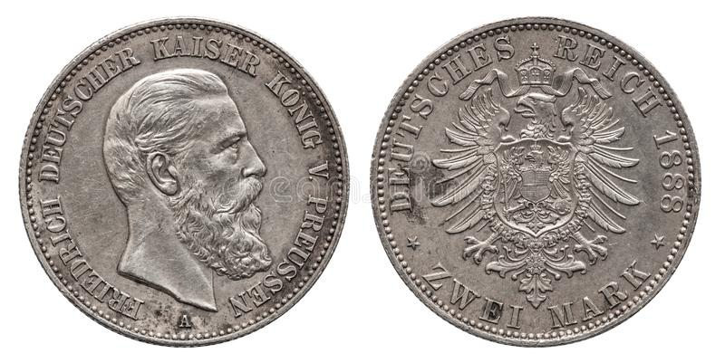 Germany German Prussia Prussian silver coin 2 two mark 1888. Friedrich stock photo