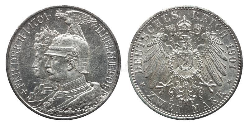 Germany German Prussia Prussian silver coin 2 two mark 1901, 200th Anniversary of Dynasty. Imperial eagle, crown with ribbon above, conjoined busts of stock photo