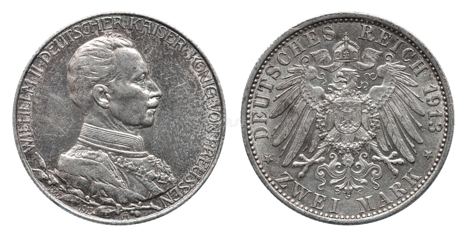 Germany German Prussia Prussian silver coin 2 two mark 1913. Wilhelm 2 royalty free stock photo