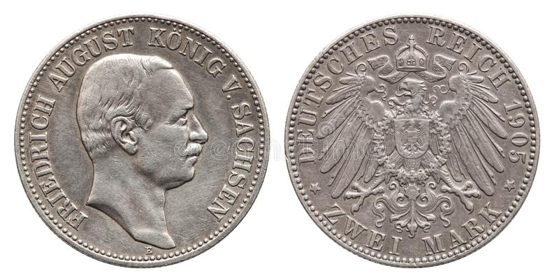 Germany German Saxonia silver coin 2 two mark 1905. Friedrich August royalty free stock image
