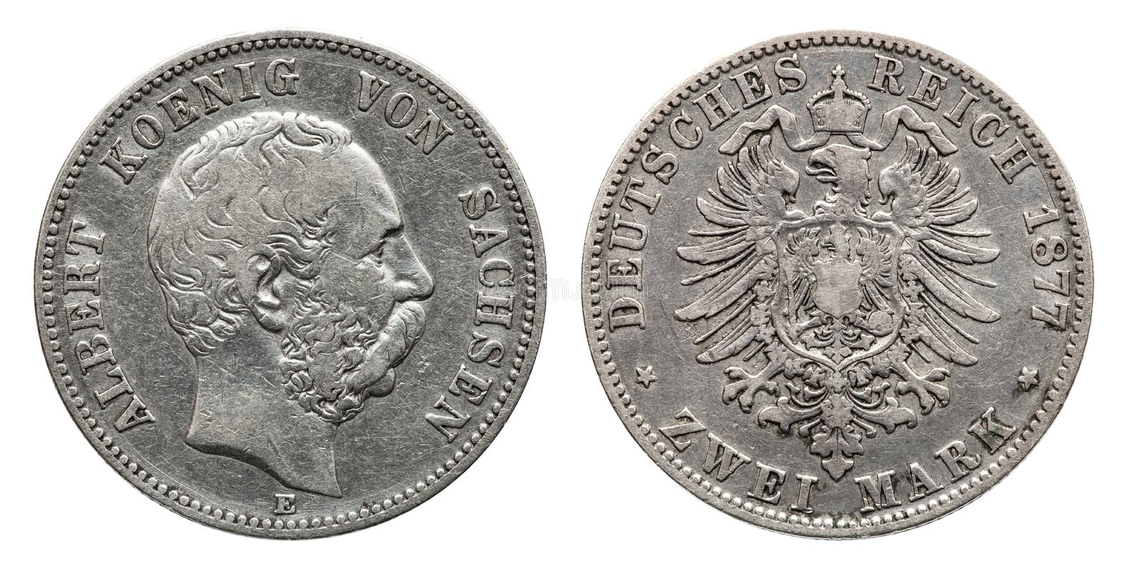 Germany German Saxonia silver coin 2 two mark 1876. Germany German Prussia Prussian silver coin 2 two mark 1876 Albert royalty free stock photo