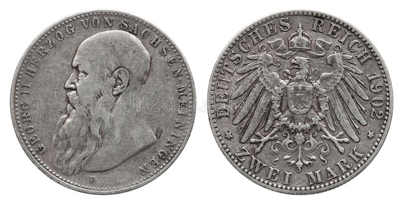 Germany German Saxony Meiningen silver coin 2 two mark 1902. Front Georg 2 , reverse eagle royalty free stock image