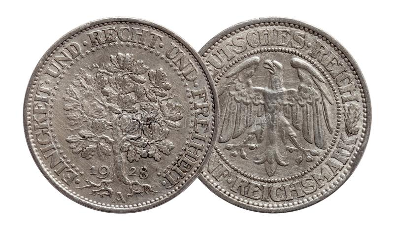 Germany German silver coin 5 five mark oak tree Weimar Republic. Isolated royalty free stock photos