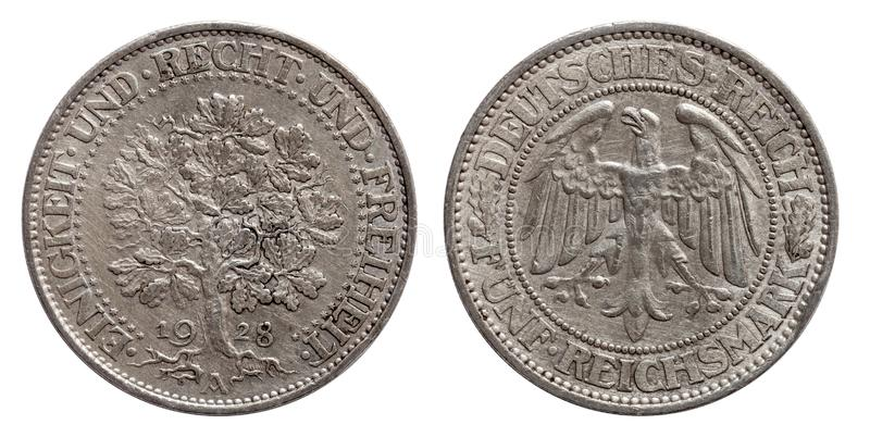 Germany German silver coin 5 five mark oak tree Weimar Republic. Isolated royalty free stock photo