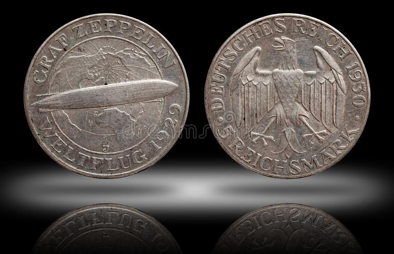 Germany German silver coin 5 five mark zeppelin Weimar Republic. Isolated royalty free stock photos