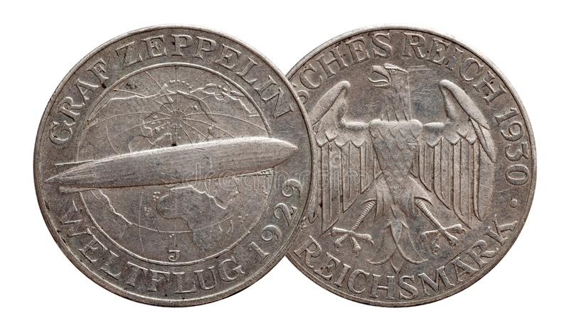 Germany German silver coin 5 five mark zeppelin Weimar Republic. Isolated royalty free stock images