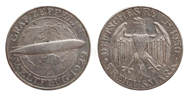Germany German silver coin 5 five mark zeppelin Weimar Republic. Isolated stock photos