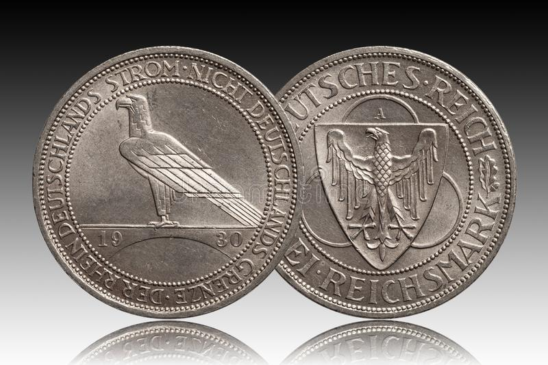 Germany German silver coin 3 three mark Rhine 1930 Weimar Republic. Isolated on gradient background stock image
