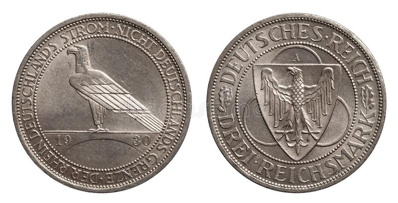 Germany German silver coin 3 three mark Rhine 1930 Weimar Republic. Isolated on white royalty free stock images