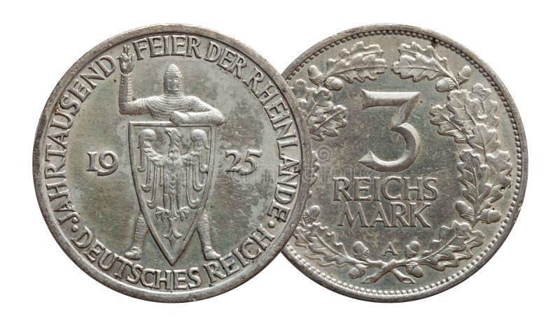 Germany German silver coin 3 three mark Rhineland celebration Weimar Republic. Isolated on white stock image