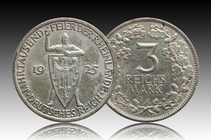Germany German silver coin 3 three mark Rhineland celebration Weimar Republic. Isolated on gradient stock photography