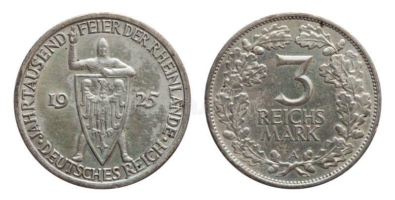 Germany German silver coin 3 three mark Rhineland celebration Weimar Republic. Isolated on white stock photo