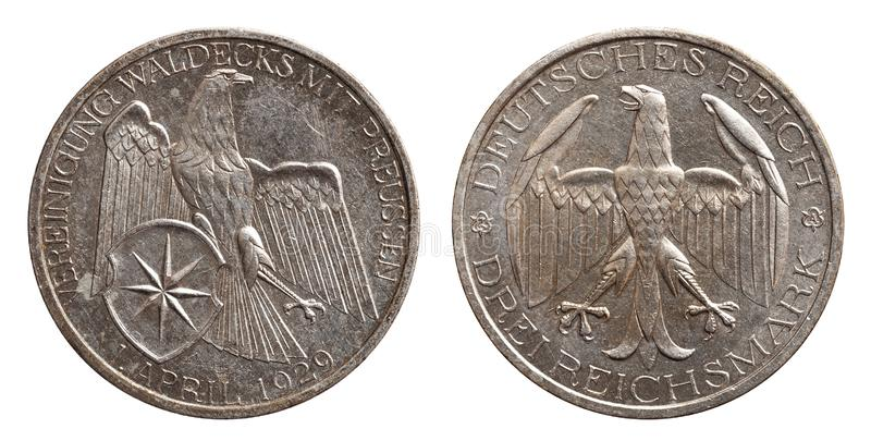 Germany German silver coin 3 three mark unification waldeck with prussia Weimar Republic. Isolated on white stock photography