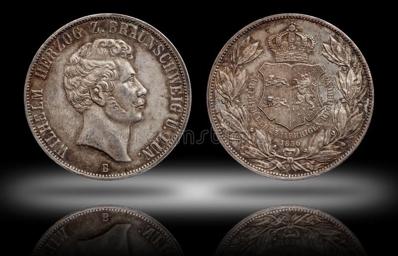 Germany german silver coin 2 two thaler double thaler Brunswick and Lueneburg minted 1856 stock photos