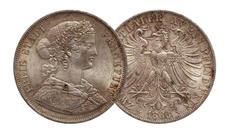 Germany german silver coin 2 two thaler double thaler Brunswick and Lueneburg minted 1856 royalty free stock image