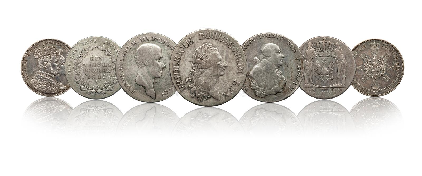Germany german silver coins thaler prussia isolated on white background stock images
