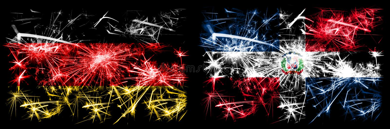 Germany, German vs Dominican Republic New Year celebration travel sparkling fireworks flags concept background. Combination of two. Abstract states flags stock illustration