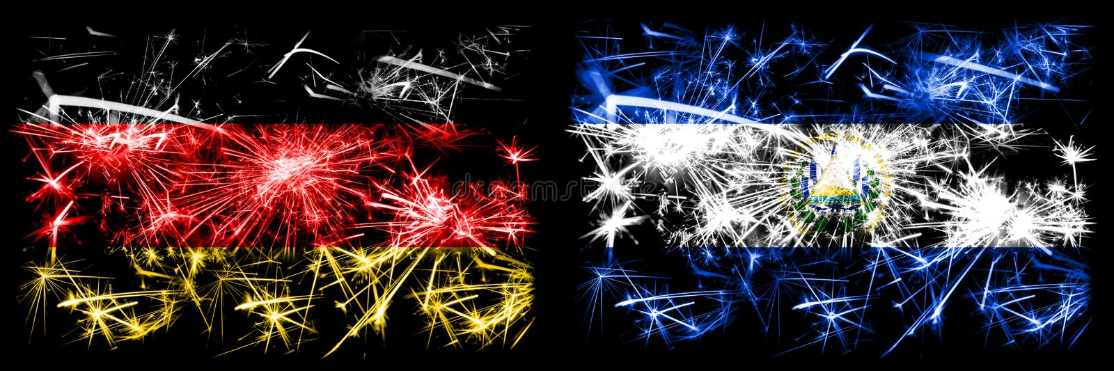 Germany, German vs El Salvador, Salvadorian New Year celebration travel sparkling fireworks flags concept background. Combination. Of two abstract states flags vector illustration