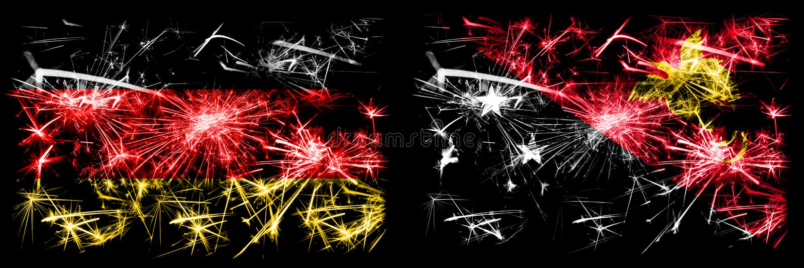 Germany, German vs Papua New Guinea New Year celebration travel sparkling fireworks flags concept background. Combination of two. Abstract states flags royalty free illustration