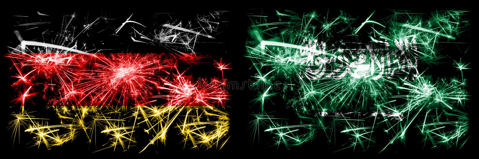 Germany, German vs Saudi Arabia, Arabian New Year celebration travel sparkling fireworks flags concept background. Combination of. Two abstract states flags stock illustration