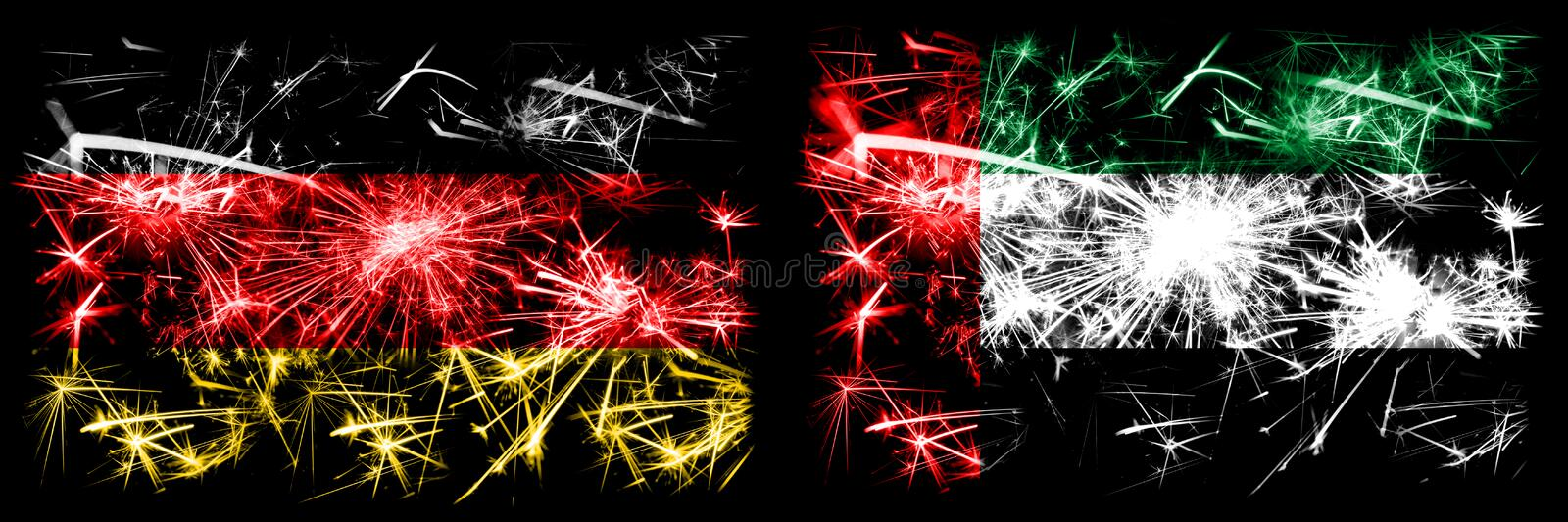 Germany, German vs United Arab Emirates, Emirati New Year celebration travel sparkling fireworks flags concept background. Combination of two abstract states stock illustration