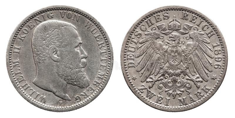 Germany German Wuerttemberg silver coin 2 two mark 1896. Front Wilhelm 2, reverse eagle royalty free stock photo