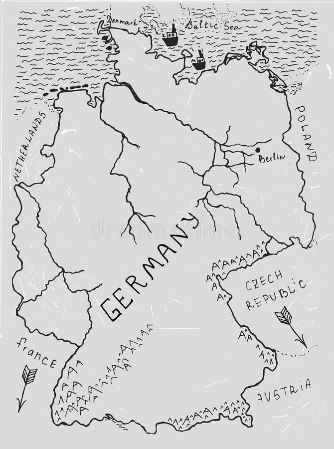 Germany Hand Drawn Map 02 A Stock Vector Illustration of tourist
