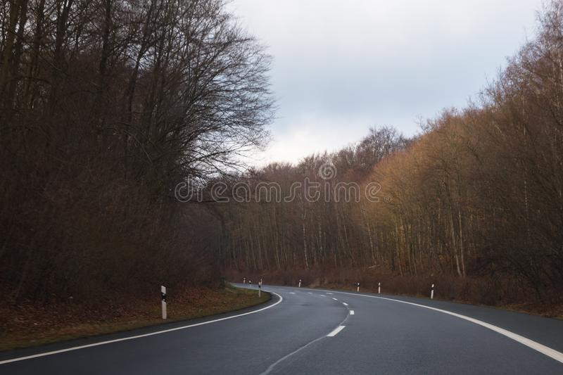 Germany highway winter trees woods forest stock photo