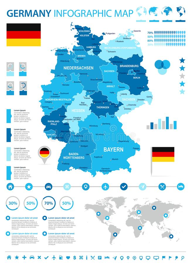 Germany - infographic map and flag - illustration stock illustration