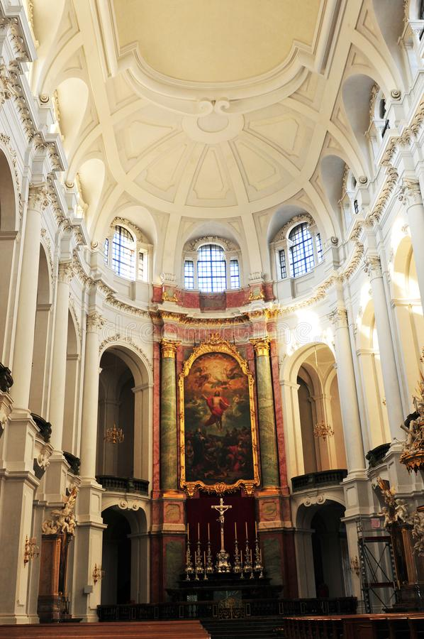 The interior design of the historic catholic woman church in Dresden. Germany: The interior design of the historic catholic woman church in Dresden royalty free stock photography