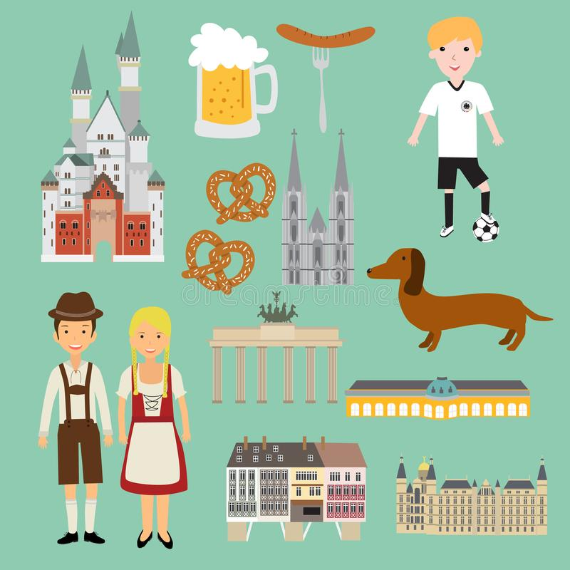 Germany isolated items vector. Illustration EPS10 stock illustration