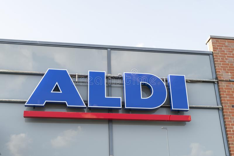 Aldi logo on the day stock photo