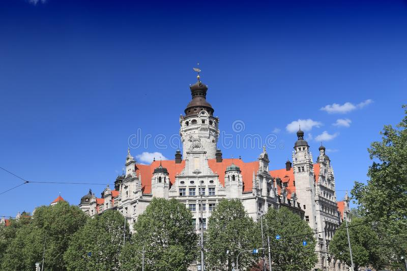 Germany landmark - Leipzig. Leipzig city, Germany. New City Hall (Neues Rathaus) built in historicism architecture style royalty free stock photos
