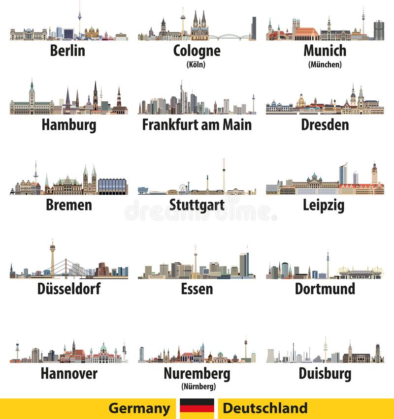Germany largest cities skylines isolated icons vector illustration. Germany largest cities skylines isolated icons vector illustration