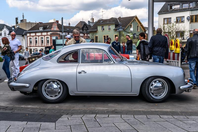 GERMANY, LIMBURG - APR 2017: Silver PORSCHE 356 COUPE 1948 in Limburg an der Lahn, Hesse, Germany royalty free stock photography