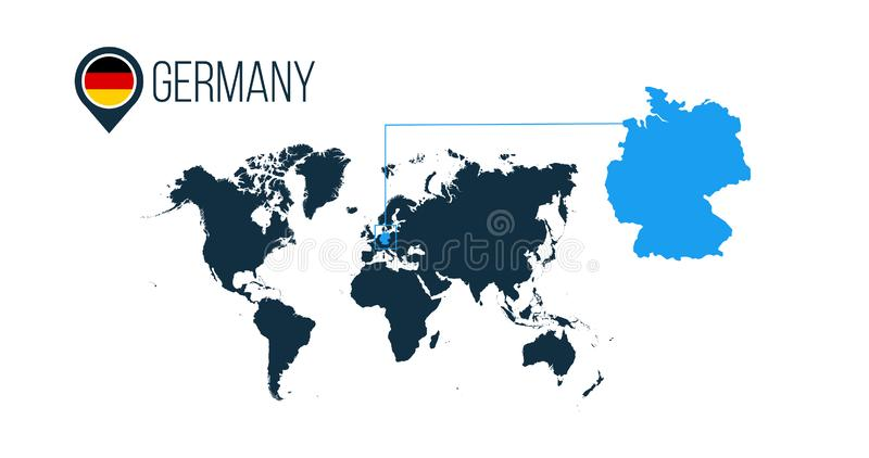 Germany location modern vector map for infographics. All world countries without names. Germany round flag in the map pin or stock illustration