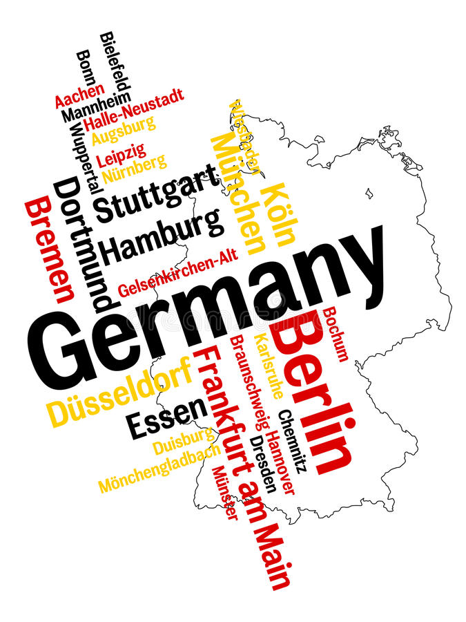 Germany map and cities. Germany map and words cloud with larger cities