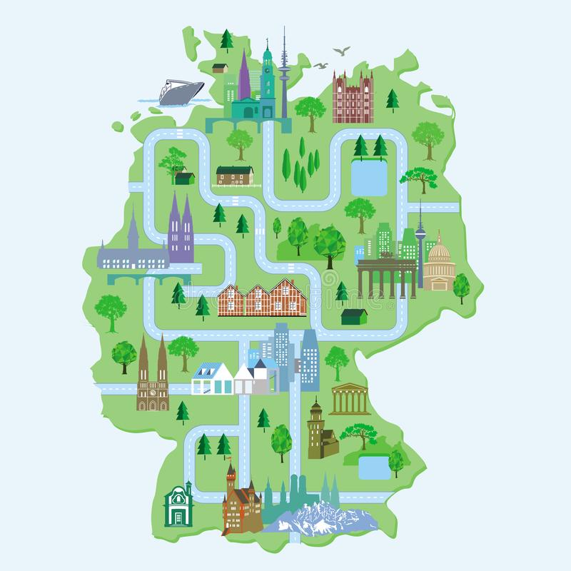 Germany map, with cities vector illustration