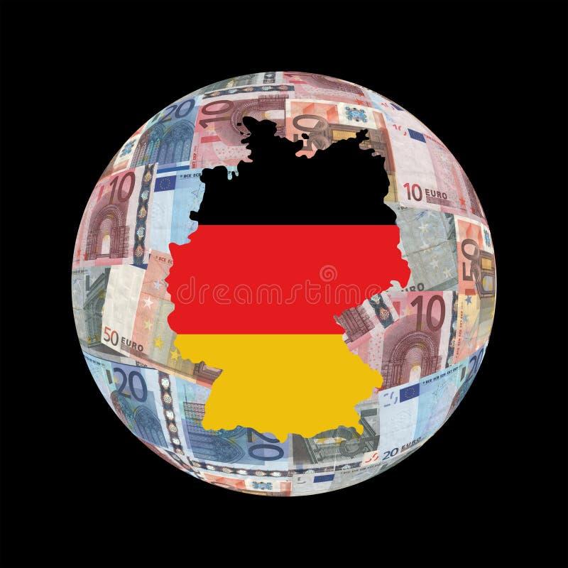 Germany Map On Euros Globe Royalty Free Stock Photo