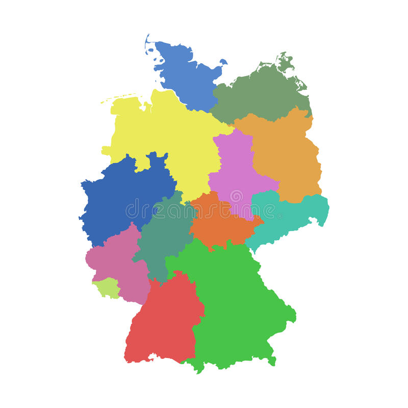 Germany map with federal states. vector illustration