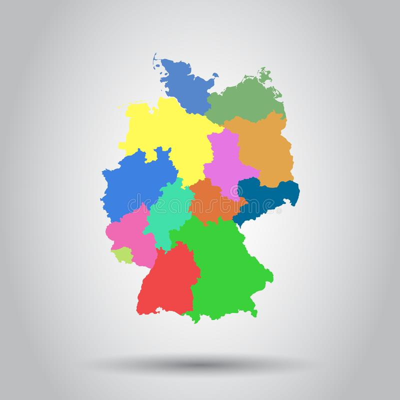 download germany map with federal states icon flat vector illustration stock vector illustration