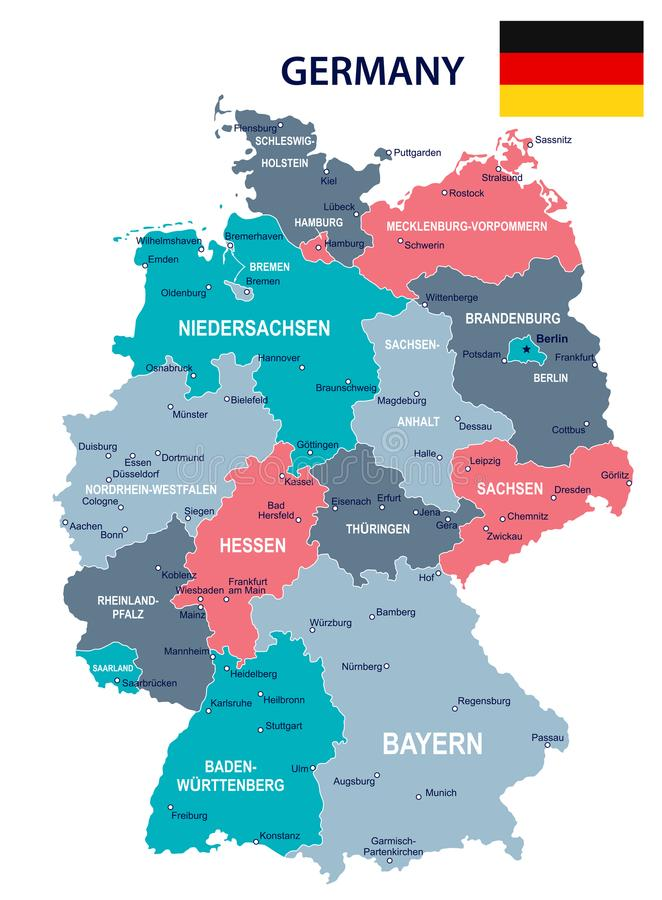Germany Map And Flag Illustration Stock Illustration