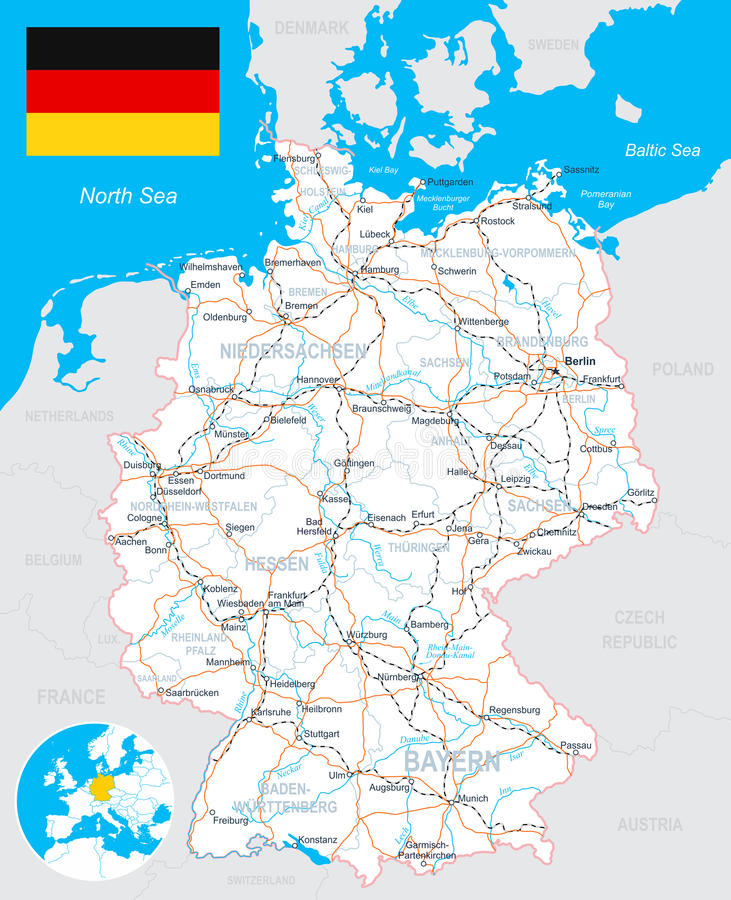 Germany Map Flag Roads Illustration Stock Vector Image - Germany map detailed