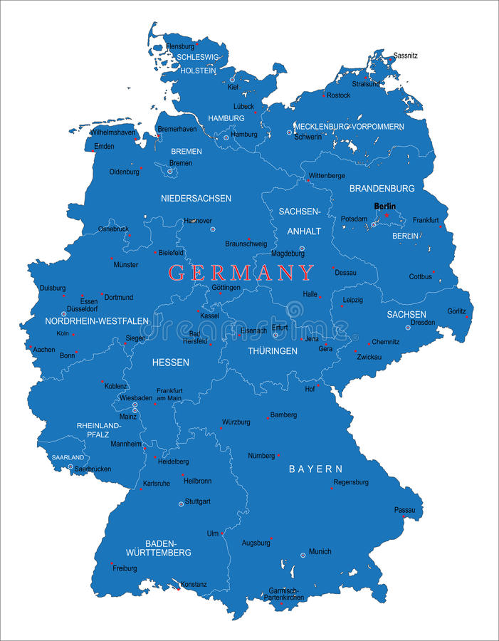 Germany Map Stock Vector Image Of Field German Illustration - Germany map main cities