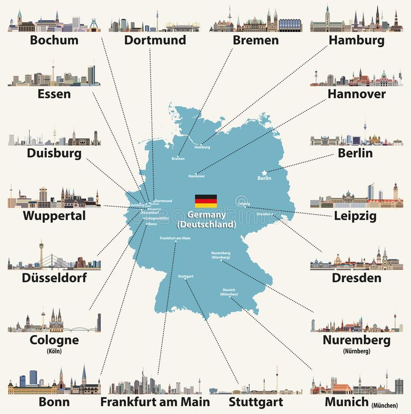 Germany map with largest cities skylines icons. Vector illustration. Germany map with largest cities skylines icons stock illustration