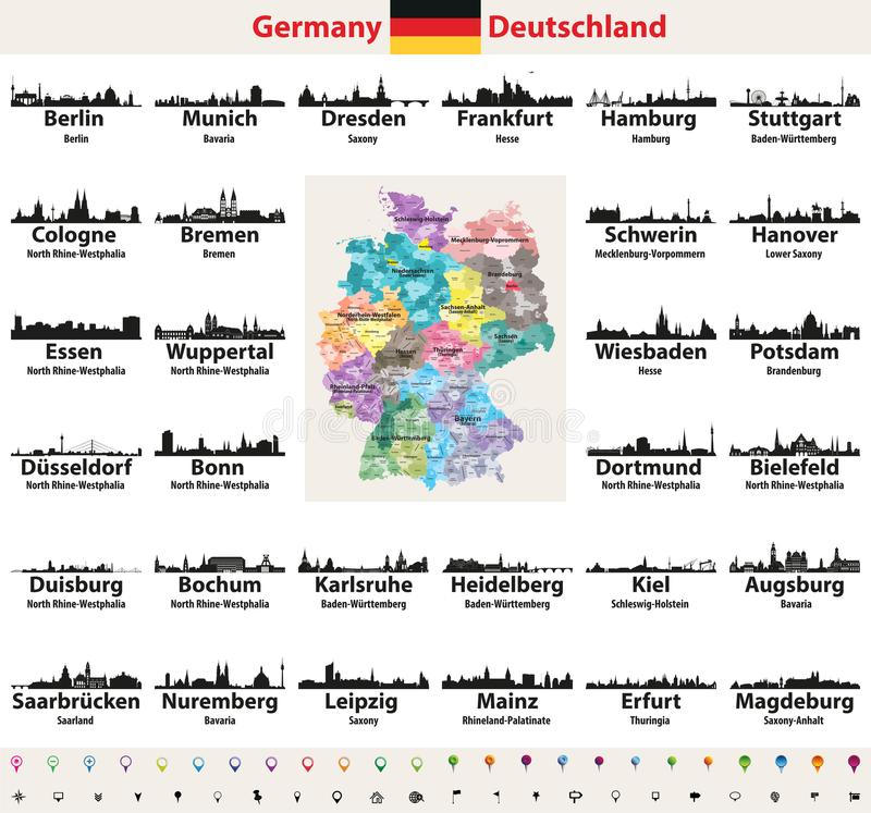Germany map with largest cities skylines silhouettes vector set vector illustration