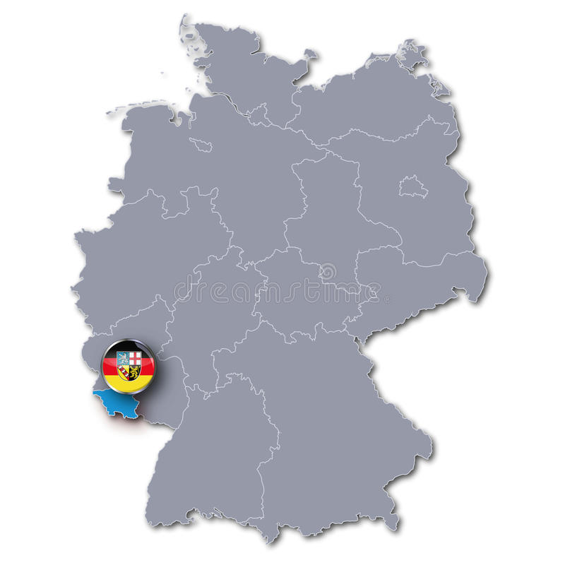 Germany Map With The Saarland Stock Illustration Illustration of